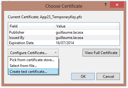 Choose Certificate