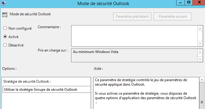Mode de sécurité Outlook